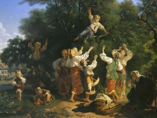 обои Сбор вишни в помещичьем саду фото