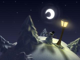 обои Фонарь и снеговик фото