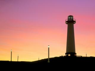 обои Long Beach Lighthouse at Sunset фото
