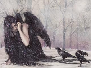 обои Падший ангел и вороны фото