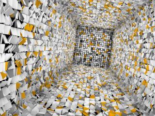 обои Внутри куба из крутящихся блоков фото