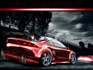 обои Mitsubishi Eclipse dark red фото