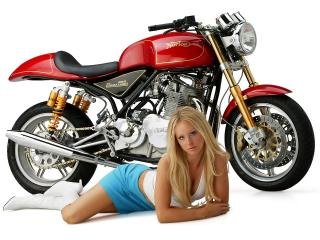 обои Blonde with motorcycle фото