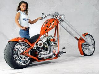 обои Girl and moto фото