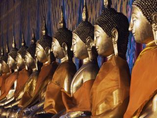 обои Line of Buddhas,   Wat Arun,   Bangkok,   Thailand фото