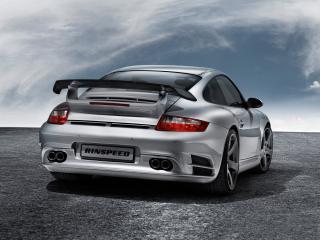 обои Porsche 997 Turbo back серебро фото