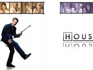 обои Хаус с костылём изображает гитару фото