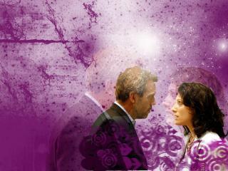 обои Хаус и Лиза на фиолетовом фоне фото