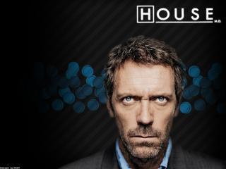 обои Хаус на полосатом фоне с синими кружками фото