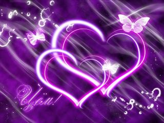 обои Два сердца на фиолетовом фоне фото