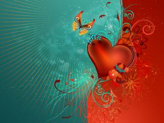 обои Сердце и бабочка фото