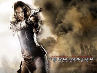 обои Terminator Salvation - Девушка с пистолетом фото