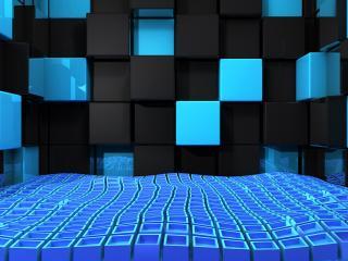 обои Черные и голубые кубы фото