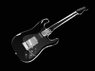 обои Красивая гитара на черном фоне фото