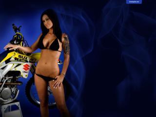 обои Девушка и байк Suzuki фото