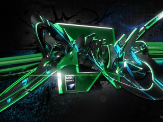 обои Зеленая адпись с лого AMD фото