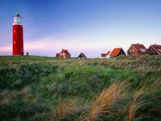 обои Красный маяк и домики фото