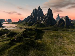 обои Горный пейзаж чужой планеты фото