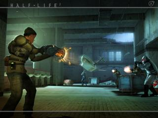 обои Повстанец стреляет гравипушкой в солдат фото