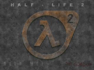 обои Потёртый логотип Half-Life 2 на стене фото