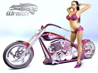 обои Розовый мотоцикл фото