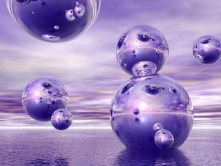 обои Фиолетовые планеты-пузыри фото