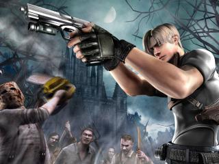 обои Resident Evil - парень с пистолетом и враги фото