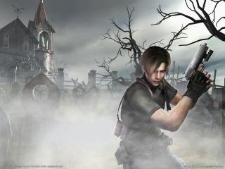 обои Парень с пистолетом на кладбище фото