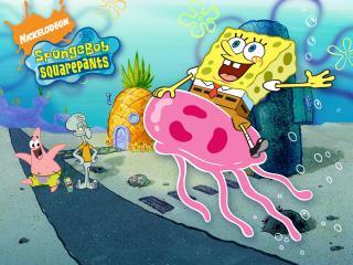 обои Спанч-Боб верхом на медузе фото