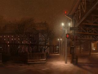 обои На ночной улице фото