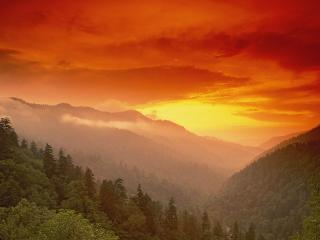 обои Sunset From Morton Overlook, Great Smoky Mountains National Park, Tennessee фото
