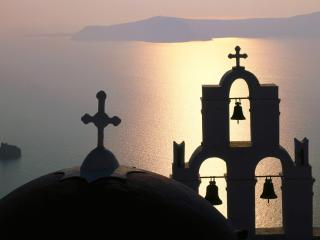 обои Bell Gable,  Thira Island,  Greece фото