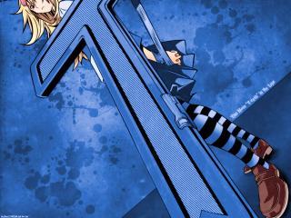обои для рабочего стола: Air Gear - блондинка на синем фоне