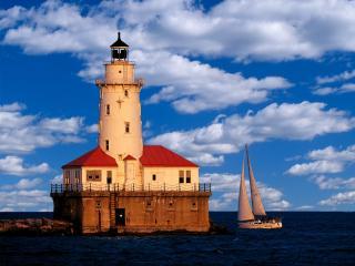 обои Chicago Harbor Light,  Illinois фото