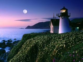 обои Moon Rise Over Point Montara Lighthouse,  California фото