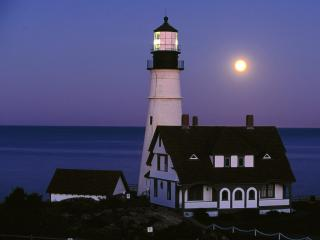 обои Moon Rise Over Portland Head Lighthouse,  Portland,  Maine фото
