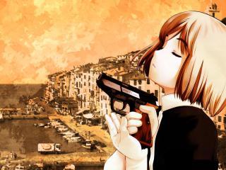обои Gunslinger Girl - Девушка с закрытыми глазами фото