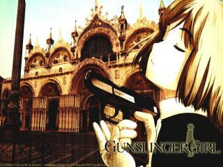 обои Gunslinger Girl - Девушка на фоне здания фото