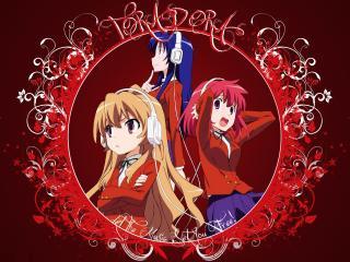 обои ToraDora - Три девушки в наушниках фото