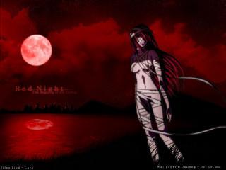 обои Elfen Lied - Люси красной ночью фото