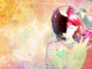 обои Elfen Lied - Люси на ярком фоне фото