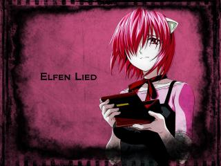 обои для рабочего стола: Elfen Lied - Люси на розовом фоне