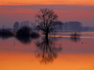 обои для рабочего стола: Flooded River at Dusk, Ijsselstreek Region, Holland, The Netherlands