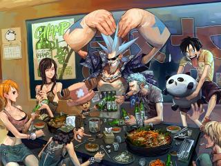 обои One Piece - Друзья за столом фото