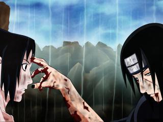 обои Naruto - Умирающий Итачи со своим братом фото