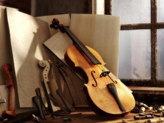 обои Мастерская мастера скрипка фото