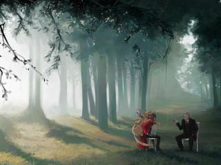 обои Двое на стульях в лесу фото