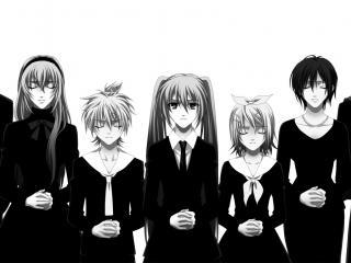обои Vocaloid - Вокалойды в черно-белом фото