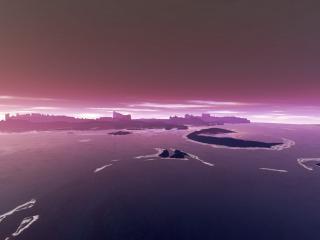 обои Фиолетовый закат над городом и побережьем фото