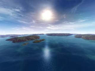 обои Ясное солнце над зелеными островами фото